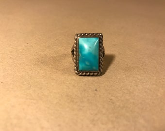 Silver and Turquoise Ring sz 5.5