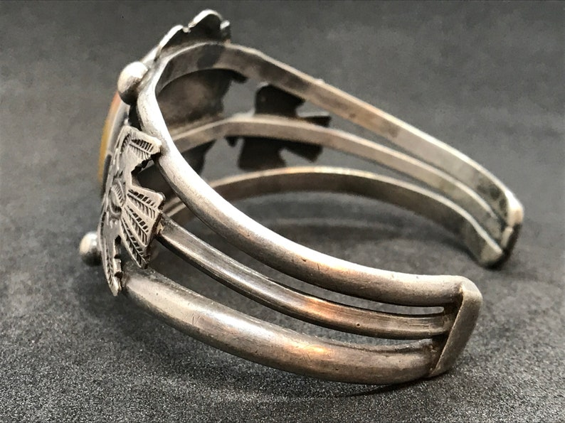 Petrified Wood Cuff Bracelet Unmarked Sterling Thunderbird