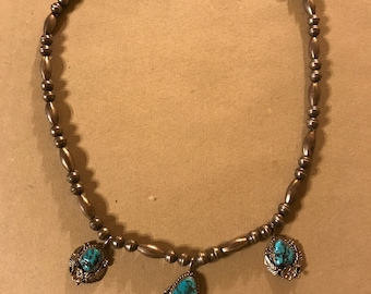Lightweight Sterling and Turquoise Necklace Circa 1970's