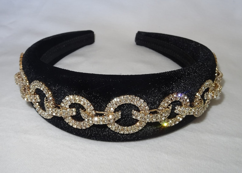 0e9296d710 Black padded velvet headband crystal diamante chain embellishment womens  hairband handmade baroque style 4cm wide crown unique