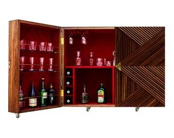 Antique Wine Bottles Glasses Led Cabinet Handmade Home Bar Cabinet Furniture Oak Veneer Wooden Bar Cabinet Liquor Cabinet Wine Storage