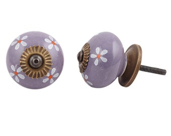 Handicraft Purple Floral Decorative Dresser Furniture Knobs Handmade New  Design Cabinet Drawer Pulls Wardrobe Door Handles