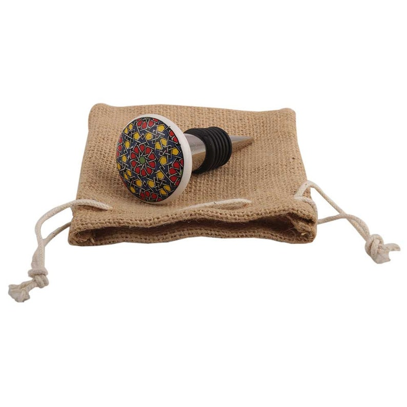 Handmade 2 Piece Artistic Mixed Color Ceramic Flat Ceramic Wine Bar Lover wedding Gift Wine Bottle Sealer Cap Cover Stopper
