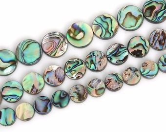 Rainbow Abalone Shell Beads, Natural Gemstone Beads, Coin Round Beads For Jewelry Making 6mm 8mm 10mm 12mm 14mm 16mm 15''