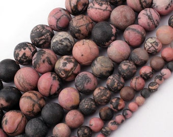 Black Rhodonite Matte Beads, Natural Stone Beads, Loose Frosted Beads, Round Beads, 6mm 8mm 10mm 12mm 15''
