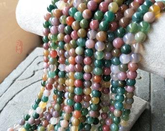 Natural Indian Agate Beads, Loose Gemstone Beads, Smooth Round Stone Beads 4mm 6mm 8mm 10mm 12mm 14mm 15''