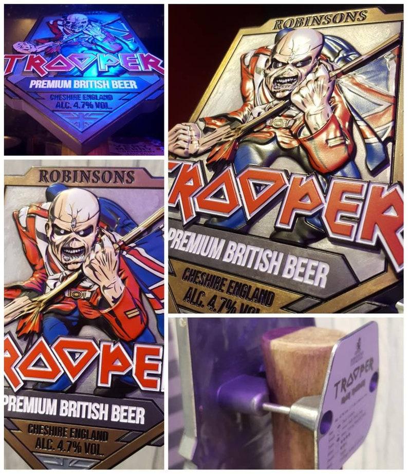 ab2a3004c7c524 Iron Maiden Original Official Trooper Beer Metal Pump Clip. 3D