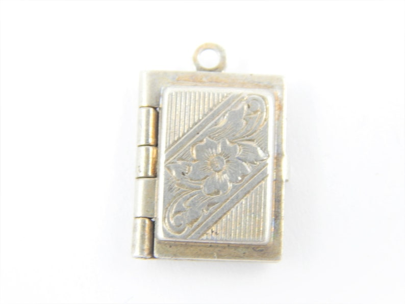 Vintage Sterling Silver Art Deco Locket Charm 925 Silver Pendant Free Shipping OC17 Charm Bracelet Supply Etched Silver Picture Locket