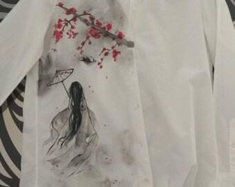 Shirt; hand made; Chinese girl and Sakura