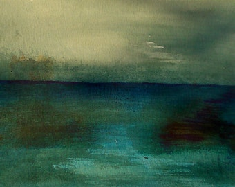 Abstract water landscape - original watercolour painting