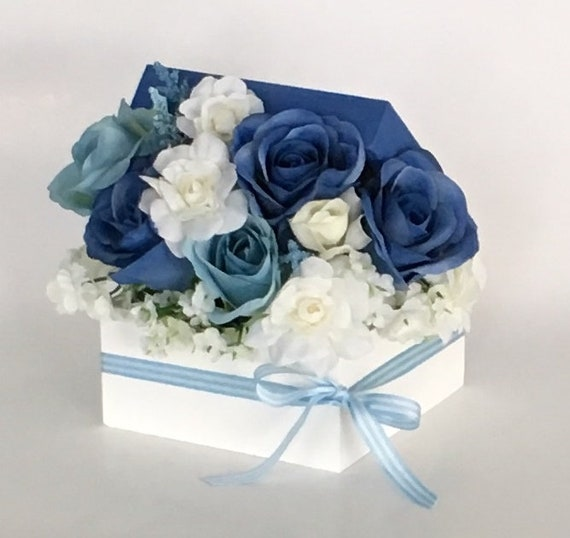 Blue Silk Roses Floral Arrangement In White Hand Painted Wood Etsy