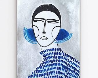 Spanish Girl with oversized earrings hair on silver original artwork and prints  by monneeshka