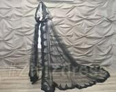 240cm. (94 39 39 ) long back Black wedding cape, Gothic cape, Gothic wedding dress, church cape, lace wedding cape, tulle cape, Church lace cape