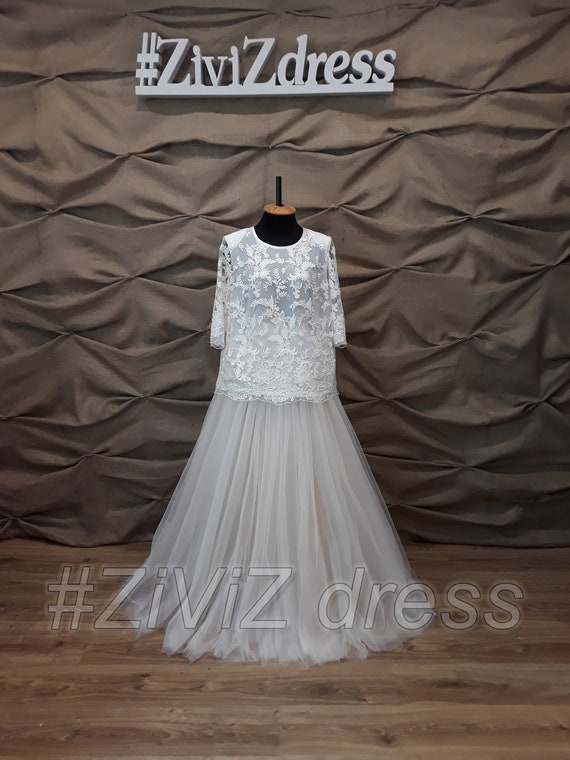 Wedding dress, Mothers bride dress, Dress plus size, Costume plus size,  Wedding tulle skirt, Lace wedding top, tulle skirt with yoke