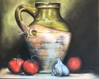 Tomatoes and green jar