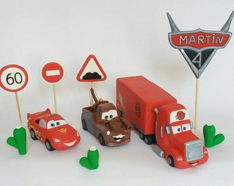 Lightning McQueen cars edible fondant cake toppers