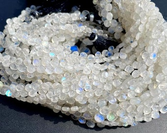 AAA+ rainbow moonstone faceted heart shape briolettes loose gemstone beads 8mm-9mm size rainbow moonstone necklace jewelry 32 pecs