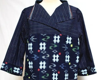 Hand Woven Kasuri tunic, Homespun Kasuri, Japanese Traditional Cloth, Navy Blue Tunic, Embroidered, Cotton Tunic, One of a kind