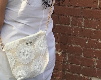 Gold Chain Floral Lace Crossbody Pouch