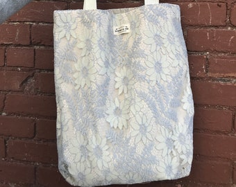 Lilac Floral Lace Tote
