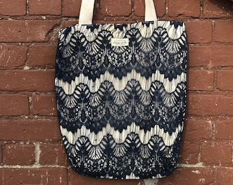 Navy Scalloped Lace Tote