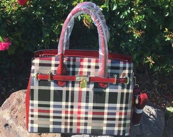 New Red and Black Plaid Patent Leather handbag.