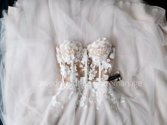 Sara Corset Wedding Dress Boho Tulle Wedding Dress Lase Etsy