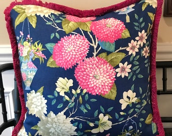 Bright blue and magenta chinoiserie pillow