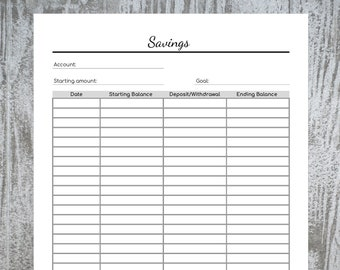 Savings Tracker Printable PDF- Instant Download- US Letter, Half Letter, A4, A5