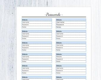 Password Tracker PDF Printable- Password Log- Password Keeper