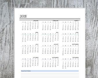 Calendar 2018 Printable US Letter