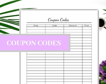Coupon Codes Printable- Discount Codes-Instant Download- US Letter 020fb3d4e