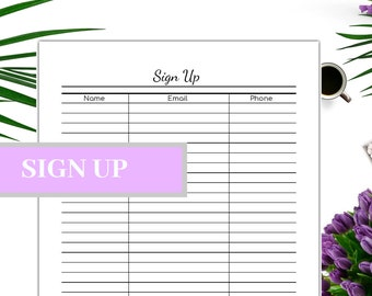sign up sheet etsy