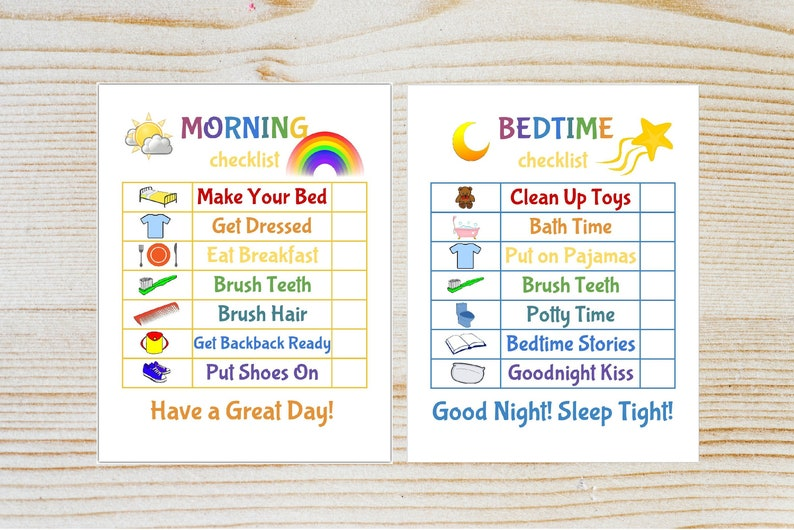 photograph relating to Printable Chore Chart for Kids named Little ones Early morning/Bedtime List Printable Chore Chart Child Timetable Chart  Child Printable Fast Obtain