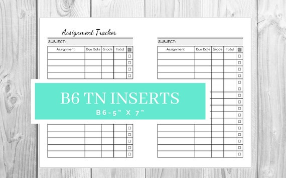 graphic relating to Assignment Tracker Printable known as B6 TN Assignment Tracker Printable- Research Tracker - Prompt Down load