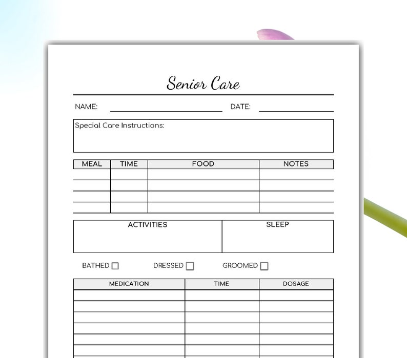 photograph regarding Printable Caregiver Forms known as Senior Treatment Printable -Caregiver Variety- Aged Treatment Sort- Quick Down load