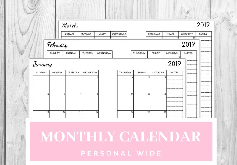Wide Calendar February 2020 Personal Wide Jan 2019 Feb 2020 Monthly Calendar Dated   Etsy