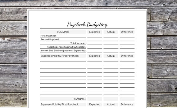 Paycheck Budgeting Personal Budget Printable Instant
