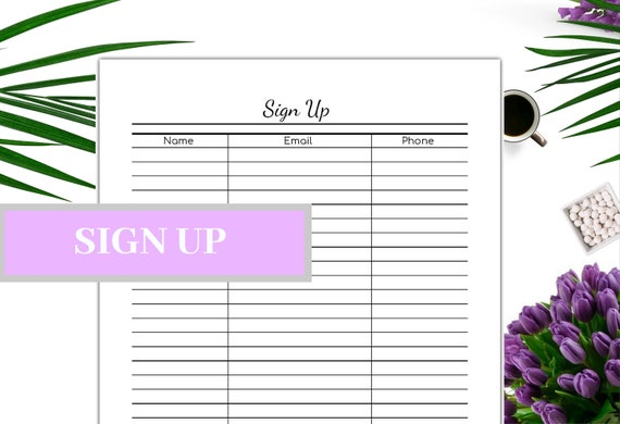 Sign Up Sheet Printable Event Sheet Email List Contact Information Newsletter Sign Up Pdf Instant Download Us Letter Half Letter A4