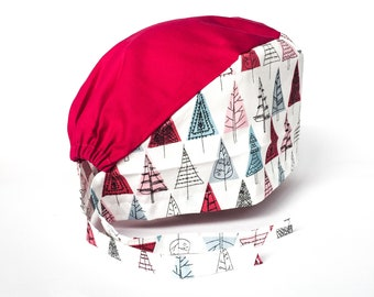 Fabric pattern tree fuschia top Cap