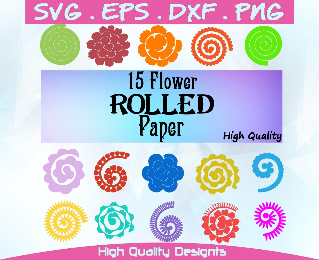 Flowers Svg 15 Flowers Rolled Paperrolled Etsy