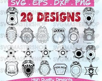 Police badges svg, police shields,dxf,svg,eps,png, police officer,vector art,digital files.