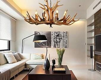 Antler chandelier etsy deer antler wood deer aloadofball Gallery