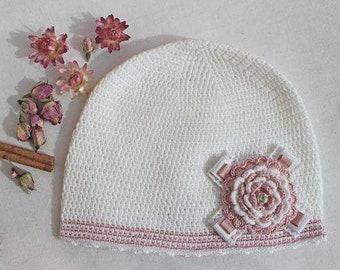 Girl's Crochet Beanie with Flower