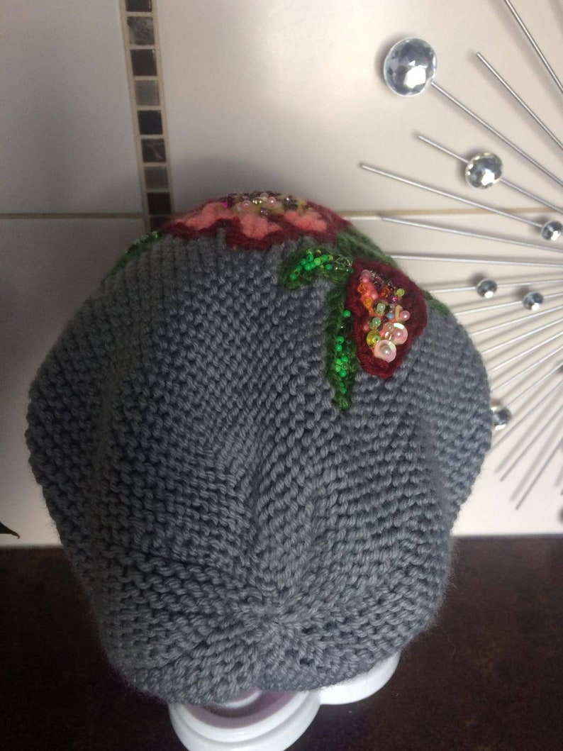 Women Winter Beanie Handknitted Beanie Winter Toque for Woman Floral Hat Woman Hat Turban Floral Pattern Slouchy Hat Woman Chunky Knit Hat