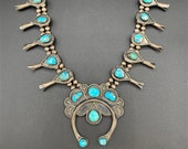 Vintage Navajo Squash Blossom Necklace Turquoise And Sterling Silver Circa 1940