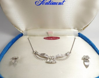 Vintage Star Art Sentiment Sterling Silver Boxed Necklace & Earrings Set