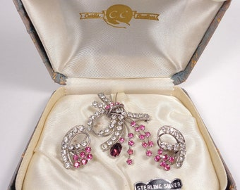 Vintage Curtis Creations Carl Art Sterling Silver Boxed Pin Brooch & Earrings Set