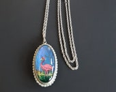 Vintage RARE REVERSIBLE Butterfly Wing Pink Flamingo Tropical Pendant Necklace