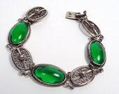 Vintage Silver & Green Gl...
